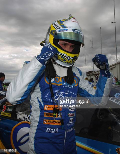 Mark Winterbottom driver of the Ford Performance Racing Ford celebrates after taking pole positionfor race 11 for round five of the V8 Supercar...