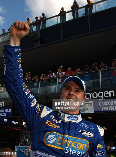 Mark Winterbottom driver of the Orrcon Steel FPR Falcon celebrates after taking pole position in the Top 10 shootout for the Bathurst 1000 which is...