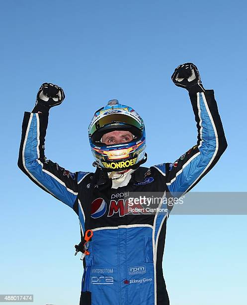 Mark Winterbottom driver of the Pepsi Max Crew Ford celebrates after winning the Sandown 500 which is race 24 of the V8 Supercars Championship at...