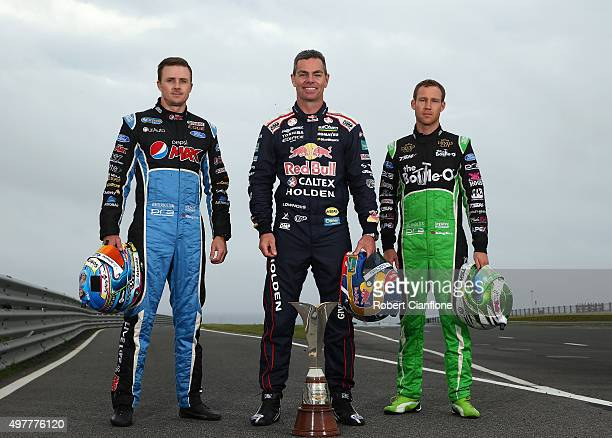 Mark Winterbottom driver of the Pepsi Max Crew Ford Craig Lowndes driver of the Red Bull Racing Australia Holden and David Reynolds driver of the The...
