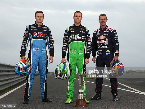 Mark Winterbottom driver of the Pepsi Max Crew Ford David Reynolds driver of the The BottleO Racing Ford and Craig Lowndes driver of the Red Bull...
