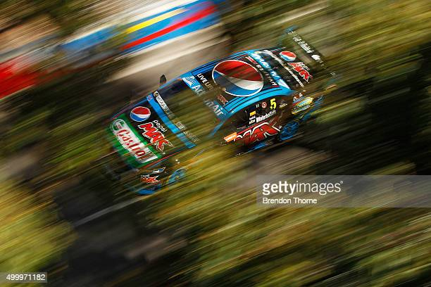 Mark Winterbottom driver of the Pepsi Max Crew Ford drives during practice for the Sydney 500 which is part of the V8 Supercar Championship Series at...