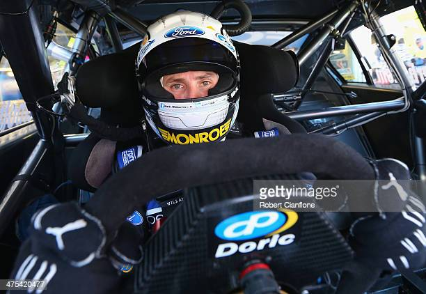 Mark Winterbottom driver of the Pepsi Max Crew Ford sits in his car prior to practice for the Clipsal 500 which is round one of the V8 Supercar...