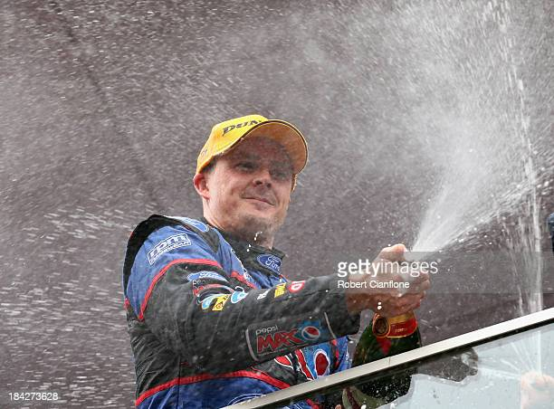 Mark Winterbottom driver of the Pepsi Max Crew FPR Ford celebrates after winning the Bathurst 1000 which is round 11 of the V8 Supercars Championship...