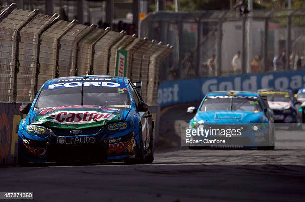 Mark Winterbottom drives the Pepsi Max Crew Ford during race 32 for the Gold Coast 600 which is round 12 of the V8 Supercars Championship Series at...