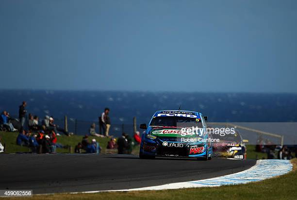 Mark Winterbottom drives the Pepsi Max Crew Ford during race 35 at the Phillip Island 400 which is part of the V8 Supercar Championship Series at...