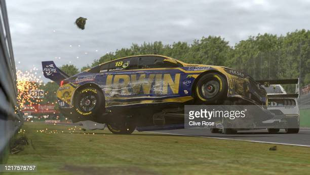 Mark Winterbottom driving the IRWIN Racing Holden Commodore ZB crashes heavily at the start of Race 3 during round 1 of the Supercars All Stars...