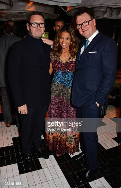 Mark Wogan Katy Wickremesinghe and Ewan Venters attend the GQ 30th anniversary party at SUSHISAMBA Covent Garden on October 29 2018 in London England
