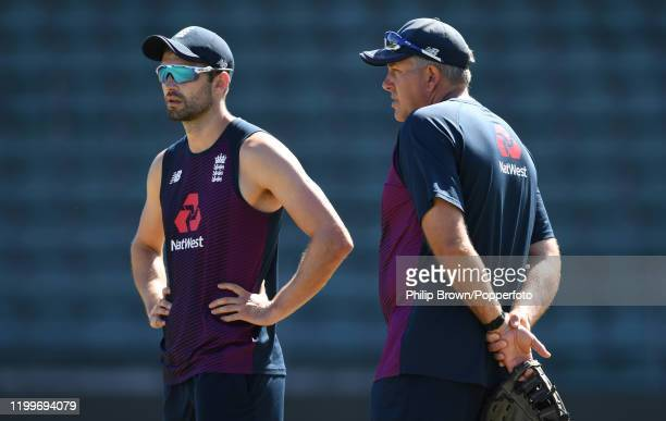 Mark Wood and Chris Silverwood of England talk during a training session at St George's Park before the third Test Match between England and South...