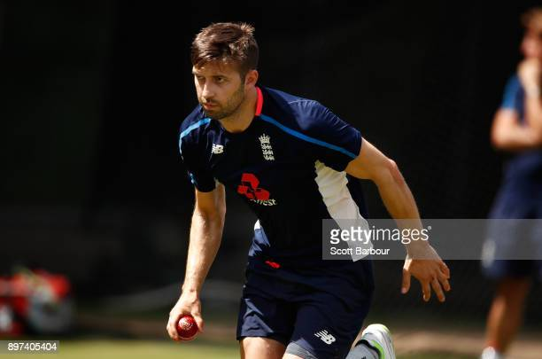 Mark Wood bowls during an England nets session at the Melbourne Cricket Ground on December 23 2017 in Melbourne Australia