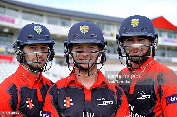Mark Wood Mark Stoneman and Chris Rushworth of Durham poses for a photograph during the Durham County Cricket Club photocall at the Riverside on...