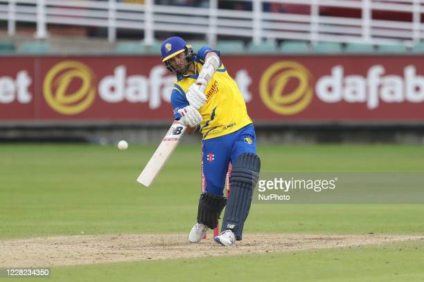 Mark Wood of Durham batting during the Vitality Blast T20 match between Durham County Cricket Club and Lancashire at Emirates Riverside, Chester le...
