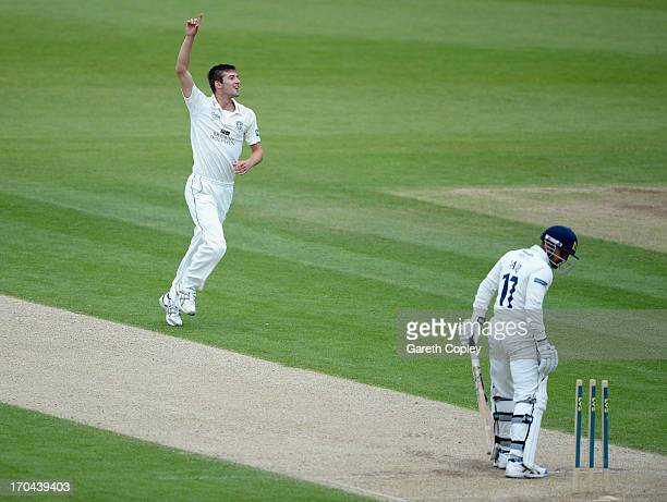 JUNE 13 JUNE 13 Mark Wood of Durham celebrates dismissing Ateeq Javid of Warwickshire during day two of the LV County Championship Division One match...