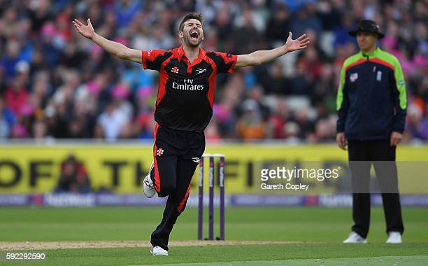 Mark Wood of Durham celebrates dismissing Tim Bresnan of Yorkshire during the NatWest t20 Blast Semi Final between Yorkshire and Durham at Edgbaston...