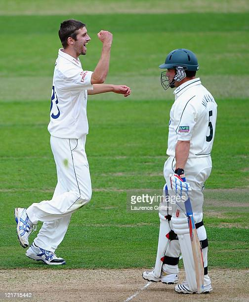 Mark Wood of Durham celebrates the wicket of Steven Mullaney of Nottinghamshire during the LV County Championship match between Nottinghamshire and...