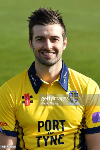 Mark Wood of Durham poses for a portrait during their press day at The Riverside on April 5 2017 in ChesterleStreet England