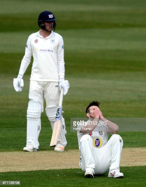Mark Wood of Durham reacts during Day One of the Specsavers County Championship Division Two match between Gloucestershire and Durham at The...