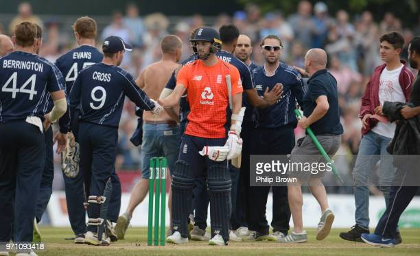 Mark Wood of England after Scotland won the OneDay International match between Scotland and England at Grange cricket club ground on June 10 2018 in...