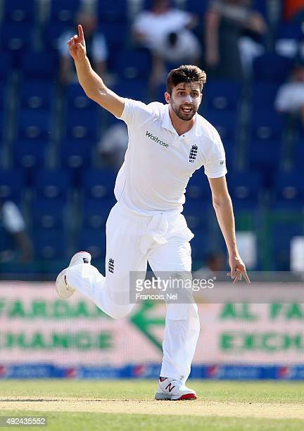 Mark Wood of England appeals during Day One of the First Test between Pakistan and England at Zayed Cricket Stadium on October 13 2015 in Abu Dhabi...