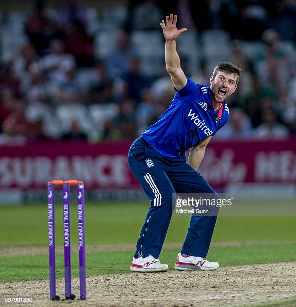 Mark Wood of England appeals for the wicket of Wahab Riaz of Pakistan during the 2nd Royal London One day International match between England and...