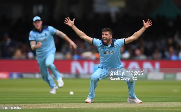 Mark Wood of England appeals successfully for the wicket of Ross Taylor of New Zealand during the Final of the ICC Cricket World Cup 2019 between New...
