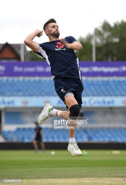 Mark Wood of England bowls during a net session at Headingley on July 16 2018 in Leeds England