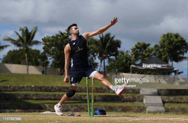 Mark Wood of England bowls during a net session at Sir Vivian Richards Stadium on February 04 2019 in St John's Antigua and Barbuda