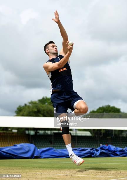 Mark Wood of England bowls during a nets session at Rangiri Dambulla International Stadium on October 8 2018 in Dambulla