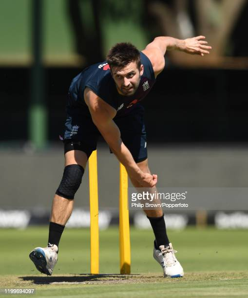 Mark Wood of England bowls during a training session at St George's Park before the third Test Match between England and South Africa on January 14,...
