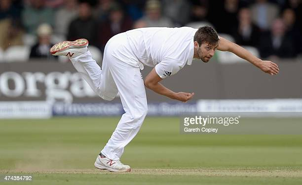 Mark Wood of England bowls during day two of 1st Investec Test match between England and New Zealand at Lord's Cricket Ground on May 22 2015 in...