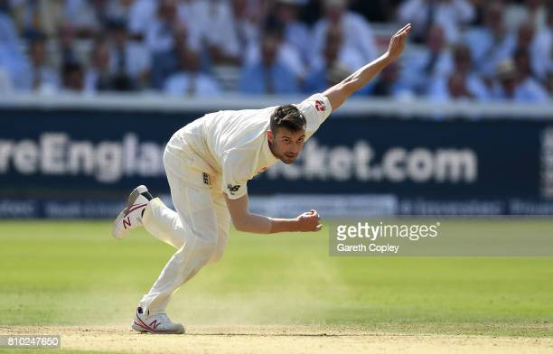 Mark Wood of England bowls during day two of the 1st Investec Test between England and South Africa at Lord's Cricket Ground on July 7 2017 in London...