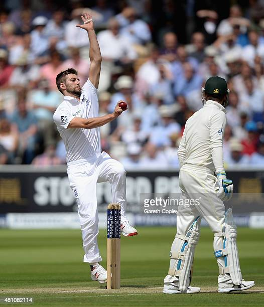 Mark Wood of England bowls during day two of the 2nd Investec Ashes Test match between England and Australia at Lord's Cricket Ground on July 17 2015...