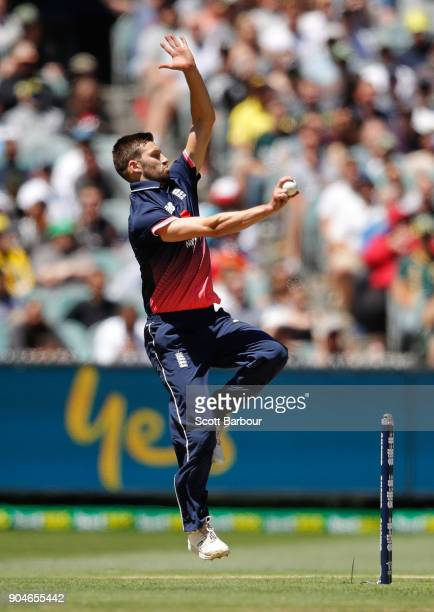 Mark Wood of England bowls during game one of the One Day International Series between Australia and England at Melbourne Cricket Ground on January...
