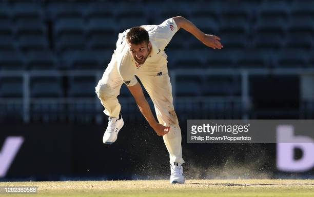 Mark Wood of England bowls during the Fourth Test at the Wanderers between England and South Africa on January 27, 2020 in Johannesburg, South Africa.