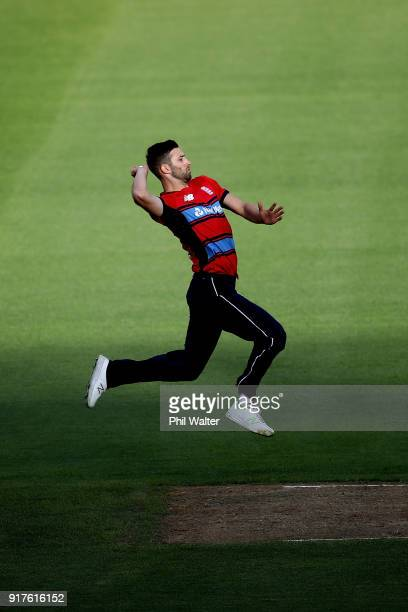 Mark Wood of England bowls during the International Twenty20 match between New Zealand and England at Westpac Stadium on February 13 2018 in...