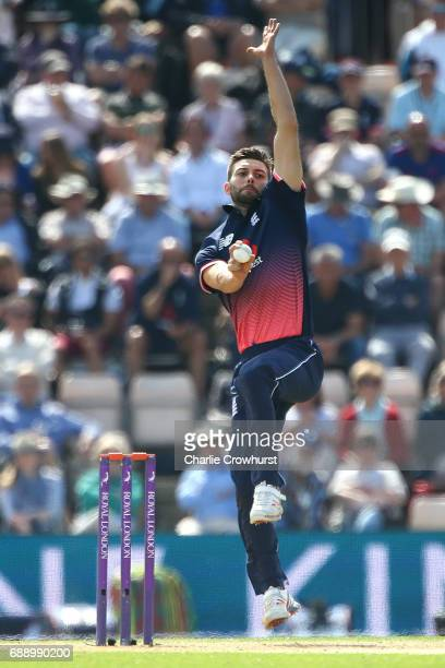 Mark Wood of England bowls during the Royal London ODI match between England and South Africa at The Ageas Bowl on May 27 2017 in Southampton England