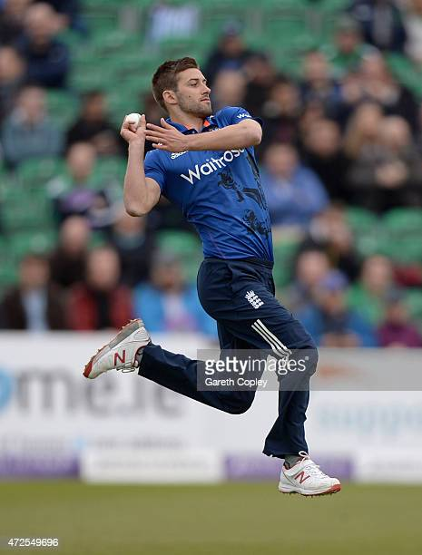 Mark Wood of England bowls during the Royal London One Day International between Ireland and England at Malahide Cricket Club on May 8 2015 in...