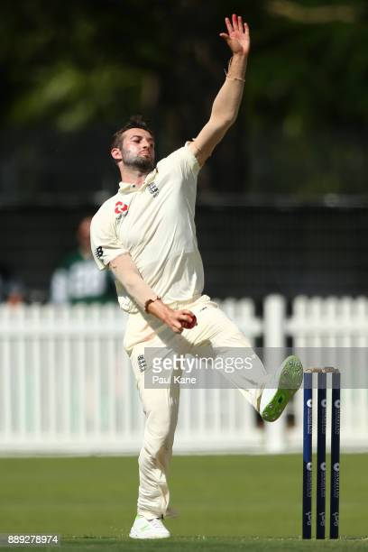 Mark Wood of England bowls during the Two Day tour match between the Cricket Australia CA XI and England at Richardson Park on December 10 2017 in...