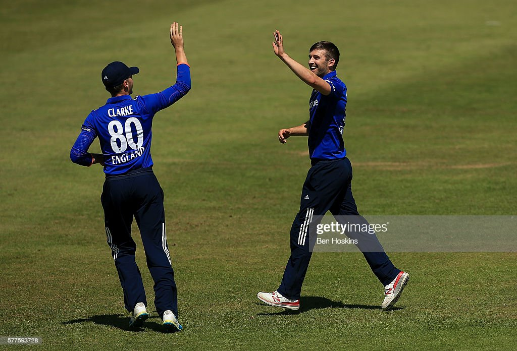 Mark Wood of England celebrates after dismissing Hasan Ali of Pakistan during the Triangular Series match between England Lions and Pakistan A on July 19, 2016 in Cheltenham, England.