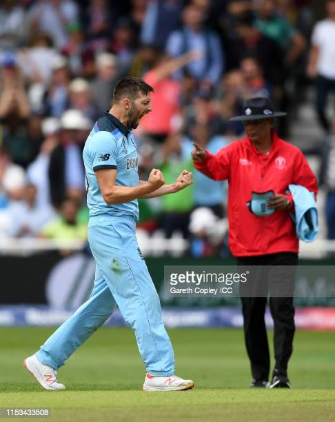 Mark Wood of England celebrates after taking the wicket of Asif Ali of Pakistan during the Group Stage match of the ICC Cricket World Cup 2019...