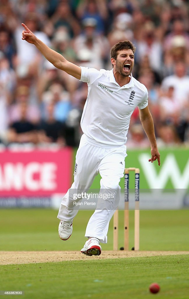 Mark Wood of England celebrates after taking the wicket of Josh Hazlewood of Australia during day three of the 4th Investec Ashes Test match between England and Australia at Trent Bridge on August 8, 2015 in Nottingham, United Kingdom.