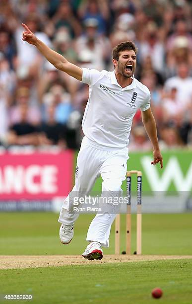 Mark Wood of England celebrates after taking the wicket of Josh Hazlewood of Australia during day three of the 4th Investec Ashes Test match between...