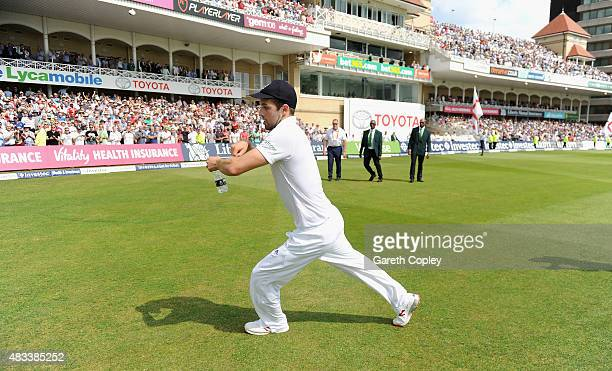 Mark Wood of England celebrates by riding his imaginary horse after winning the 4th Investec Ashes Test match between England and Australia at Trent...