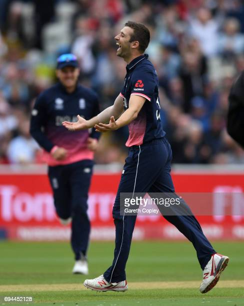 Mark Wood of England celebrates dismissing Australian captain Steve Smith during the ICC Champions Trophy match between England and Australia at...