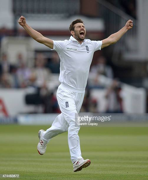 Mark Wood of England celebrates dismissing Brendon McCullum of New Zealand during day three of 1st Investec Test match between England and New...