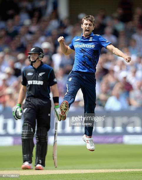 Mark Wood of England celebrates dismissing Brendon McCullum of New Zealand during the 4th ODI Royal London OneDay match between England and New...