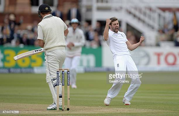Mark Wood of England celebrates dismissing Corey Anderson of New Zealand during day three of 1st Investec Test match between England and New Zealand...
