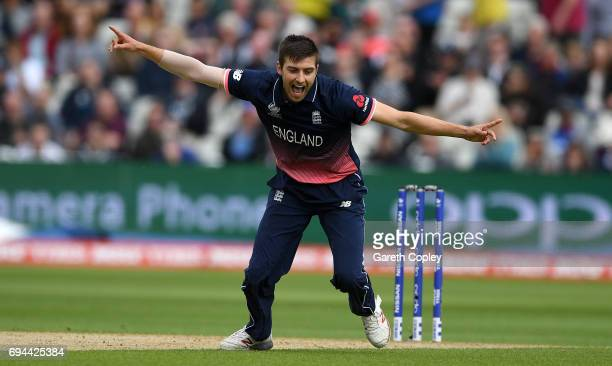 Mark Wood of England celebrates dismissing David Warner of Australia during the ICC Champions Trophy match between England and Australia at Edgbaston...