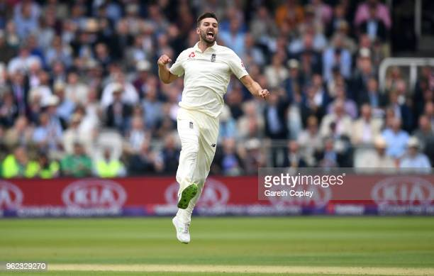 Mark Wood of England celebrates dismissing Haris Sohail of Pakistan during day two of the 1st NatWest Test match between England and Pakistan at...