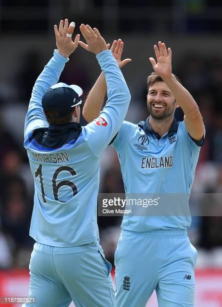 Mark Wood of England celebrates dismissing Isuru Udana of Sri Lanka during the Group Stage match of the ICC Cricket World Cup 2019 between England...
